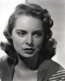 Janet Leigh Posed in Grey Linen V-Neck Blouse with Stripe Sleeves