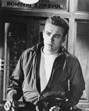 James Dean Posed in Black Long Sleeve Silk Jacket and White Round Neck T-Shirt