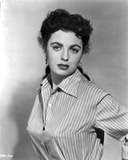 Faith Domergue Posed in Striped Shirt in Black and White Portrait