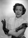 Jane Wyman Portrait in White Silk Lace Short Sleeve Bodice and Black Leather Gloves