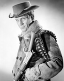 Steve McQueen Posed in Black and White Portrait wearing Cowboy Outfit with Rifle