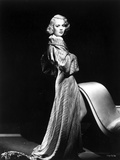 Jane Wyman Posed in Grey Long Sleeve Silk Shoulder Dress with Head Turn to the Right