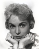 Janet Leigh Portrait in Striped Knitted Long Sleeve Sweater with Chin Leaning on the Hands
