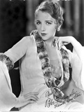 Bebe Daniels Posed Hand on the Waist in Black Pelt Boa and White Long Sleeve Dress
