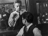 James Dean Scene from a Film Knocking on a Reinforced Glass Window