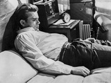 James Dean on the Bed in White Silk Collar Shirt and Black Pants with Arms Rest on the Side