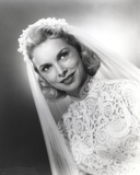 Janet Leigh Posed in White Silk Lace Wedding Dress with Sheer Silk Veil
