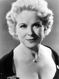 Joan Plowright wearing a Scoop-Neck Dress in a Classic Portrait