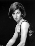 Stefanie Powers Posed in Black and White Portrait wearing Black Dress with Pearl Necklace