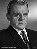 James Cagney Portrait Looking Serious in Black Velvet Suit and Black Silk Necktie