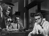 James Dean Scene from a Film Seated on Chair in White Long Sleeve Shirt with Left Hand on the Mouth