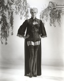 Janet Leigh Posed in Black One Piece Sexy Suit and Black Sheer Long Sleeve Coat