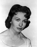 Jeanne Crain Portrait in White Dress and Pearl Necklace and Pearl Earrings