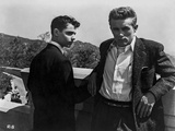 James Dean Posed in Black Sequin Suit and White Collar Shirt with Elbows Bent Back