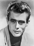 James Dean Portrait in White Linen Shirt and Black Turtle Neck Shirt with Head Turn to Right