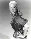 Janet Leigh Posed in Black Short Sleeve Silk Blouse with Hands on the Waist