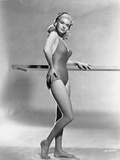 Jayne Mansfield Posed in One Piece Swimsuit and Black Headband with Right Hand on the Waist