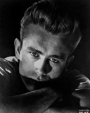 James Dean Portrait in White Round Neck Shirt and Arms Crossed with Eyes Looking Straight