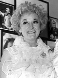 Phyllis Diller smiling and Looking Away Portrait wearing White Lace Dress