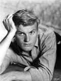 Tab Hunter Lying in Three Fourth Dress With Head Leaning on Hand