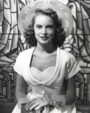 Janet Leigh Close Up in Classic Portrait in White Silk Short Sleeve Dress and Gloves