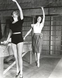 Janet Leigh Posed in Black One Piece Short Sleeve Sexy Unitard and Waist Belt