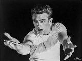 James Dean Posed in Whit Short Sleeve Round Neck T-Shirt with Arms Raised Up with Hands Open