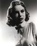 Janet Leigh Close Up Portrait in White Short Sleeve Collar Shirt and Black Ribbon Tie