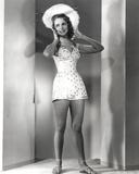 Janet Leigh Posed in White Straw Hat and White Polka Dot Short Skirt Halter Dress
