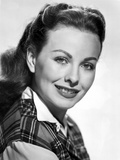 Jeanne Crain Portrait in Black Tartan Shirt with White Long Sleeves and Collar