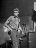 James Dean Posed in Grey Tucked-On Short Sleeve Shirt and Belted Pants with Head Turn to the Right