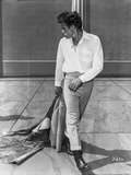James Dean Posed in White Tucked-On Long Sleeve Shirt and Tight Pants with Black Leather Shoes