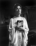 Jean Simmons Posed in White Butterfly Sleeve Silk Dress with Hands Together Holding a Black Book