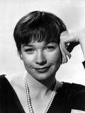Shirley MacLaine Portrait in Black V-Neck Long Sleeve Shirt and Pearl Necklace