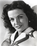 Jane Russell Portrait in White Suit Dress with Black Outline on the Collar