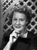 Shirley Booth on a Portrait in Black Dress and Stripe Collar with Chin Leaning on Hand