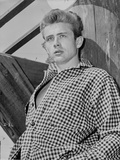 James Dean Portrait Leaning Back in White Gingham Long Sleeve Shirt with Hands on the Pocket
