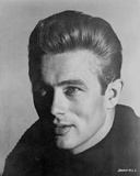 James Dean Portrait in Black Knitted Round Neck Cotton Shirt on White Background