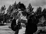Psycho Cast Member wearing Leather Jacket Excerpt from Film in Black and White Portrait