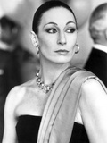 Anjelica Huston Looking Away wearing Earrings and Necklace Classic Portrait