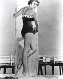 Janet Leigh Posed in Black Linen One Piece Strapless Swimsuit with Right Hand on the Pelvis