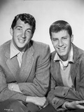 Dean Martin and Jerry Lewis Posed in Coat with White Collar