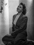 Claudette Colbert sitting Pose in Coat Classic Portrait