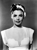 Lena Horne wearing Silk Dress with Hat Portrait in Black and White