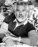 Kenny Rogers in Black and White polo shirt Close Up Portrait