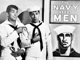 Dean Martin and Jerry Lewis Scene with Two Men wearing Navy Uniform