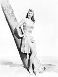 Esther Williams Standing Under the Tree in Black and White