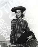 Loretta Young Lady wearing Black Striped Long Sleeve Dress Suit