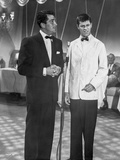 Dean Martin and Jerry Lewis Scene with Two Men in a Formal Attire