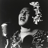 Billie Holiday singing in Black Dress with Flower on Head Portrait